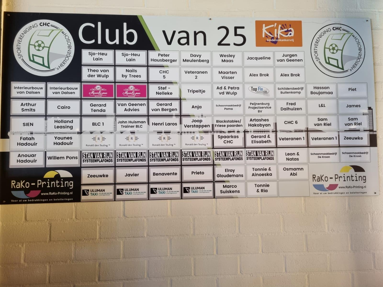 Nieuwe leden Club van 25